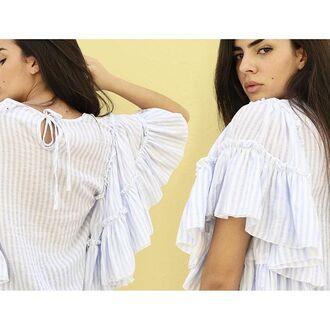 blouse style mafia top light blue ruffled sleeves
