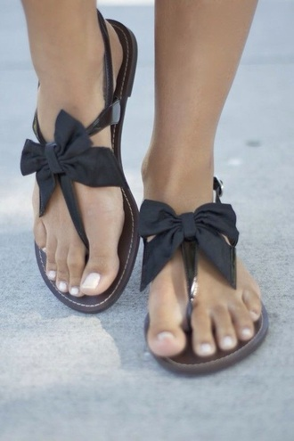 shoes bows spring summer sandles biws black