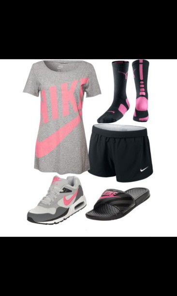 shorts nike socks slide shoes t-shirt pink