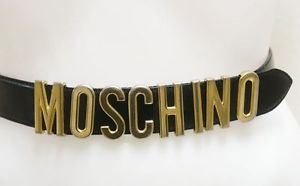 Moschino Designer Black Leather Metal Logo Belt Sz S   eBay
