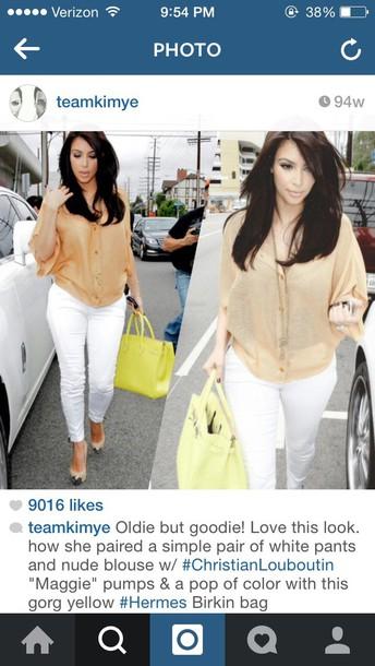 kim kardashian white jeans blouse
