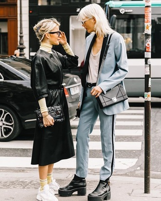 jacket blazer blue blazer pants blue pants pantsuit top boots black boots skirt leather jacket white top midi skirt streetstyle