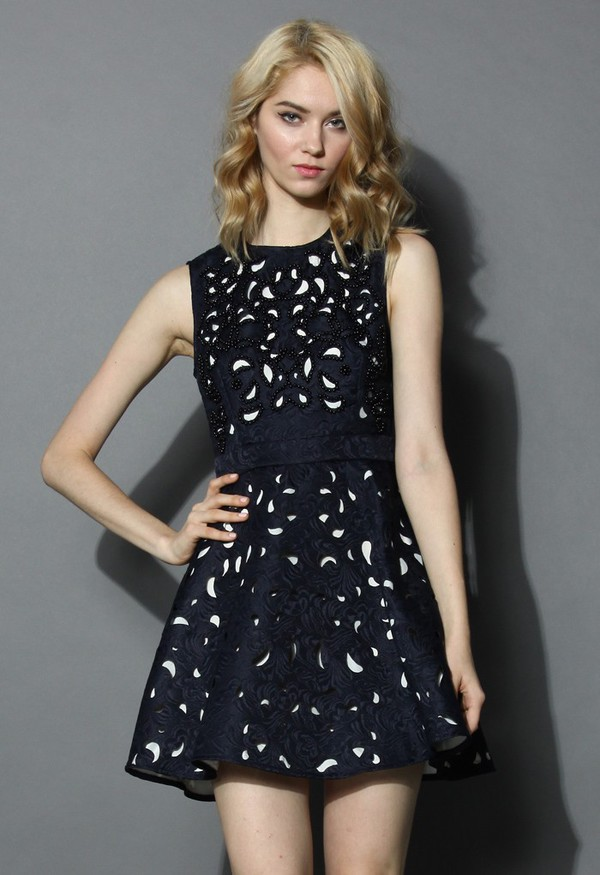 chicwish eternal charm cut-out embossed dress navy