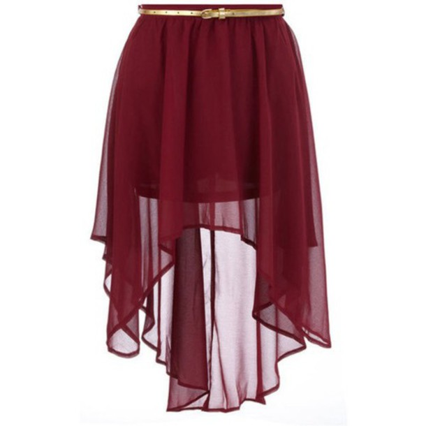 skirt maroon coloured long at the back short at the front skirt