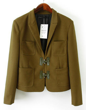 jacket brenda shop lapel 36683 blazer army green pockets notched office outfits elegant fall outfits winter outfits spring outwear