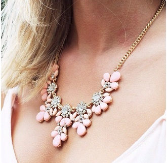 jewels gold gold jewelry necklace gold necklace light pink accessories girly strass