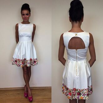 dress light white skater skaterdress flowers open back pattern colorful