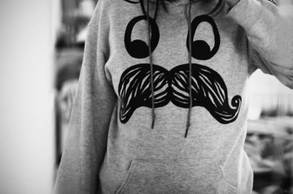 smiley face sweater cute mustache winter sweater hoodie
