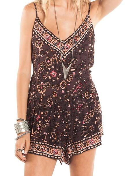 romper shorts boho boho chic beach style spring break spring outfits beach chic beach jumpsuit print brown beach dress