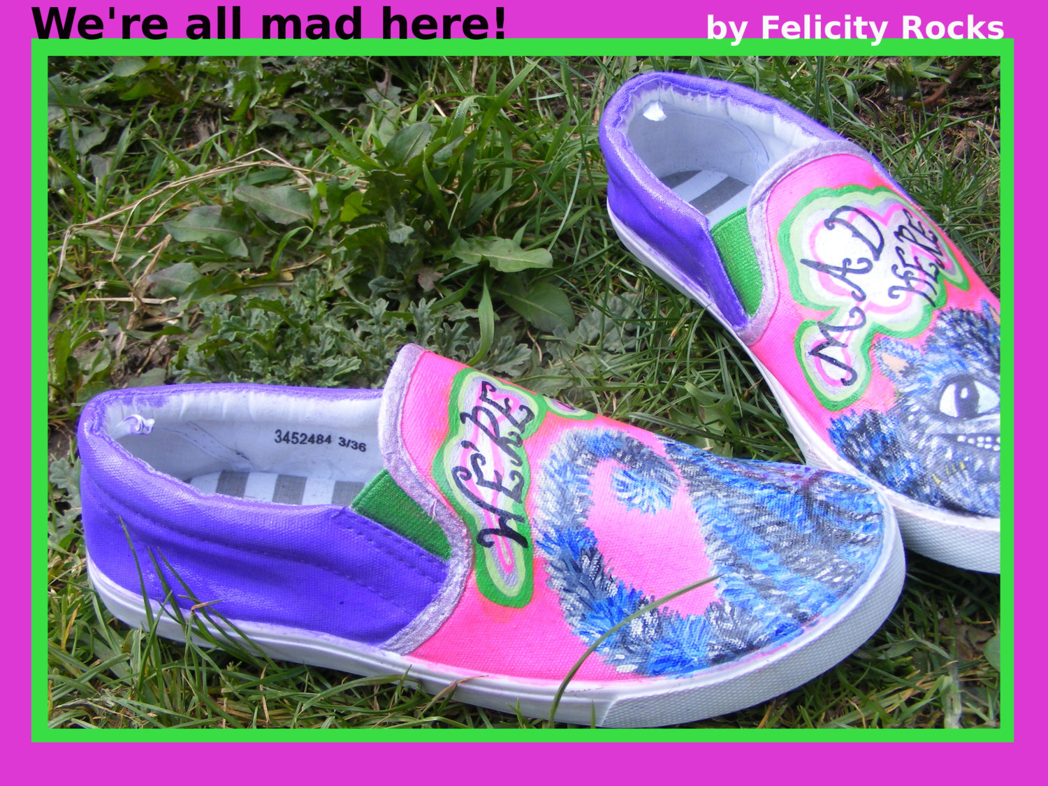 Cheshire cat, we're all mad here, hand painted shoes (alice in wonderland)