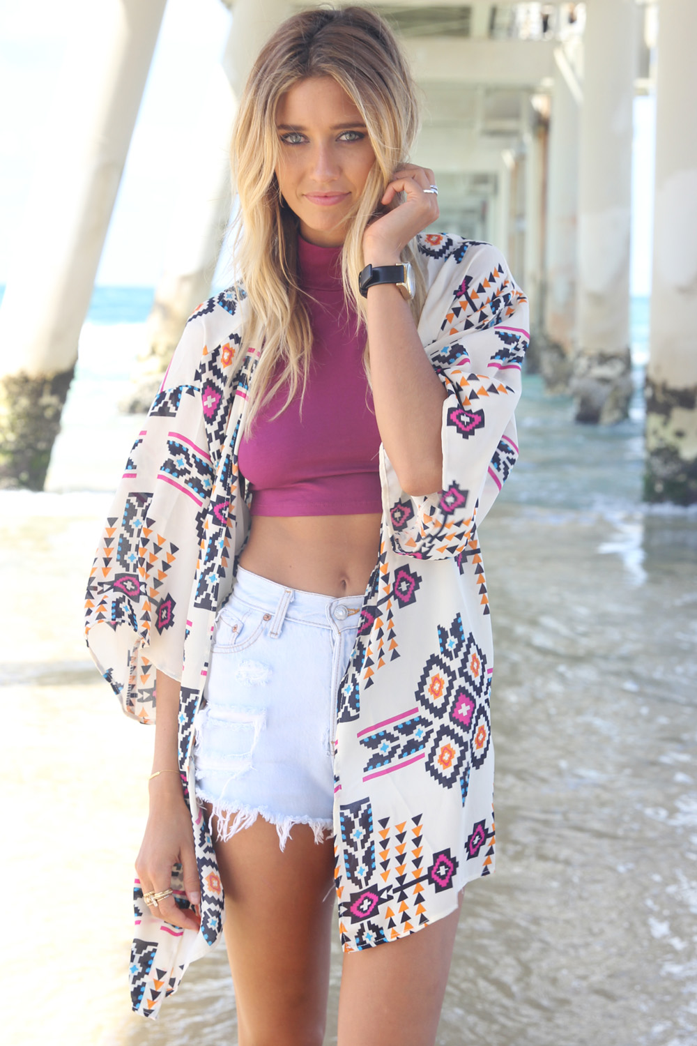 White Print Top - White Geometric Patterned Cape with | UsTrendy