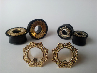 jewels earrings piercing ear plug tunnel gold grunge rock hippie vans warped tour