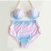 swimwear,sea creatures,sea,pink,blue,mermaid,shell,bikini