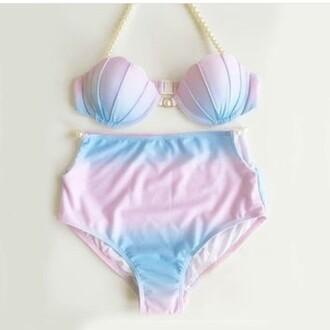 swimwear sea creatures sea pink blue mermaid shell bikini
