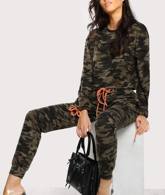 jumpsuit girly camouflage two-piece tracksuit joggers sweater joggers pants