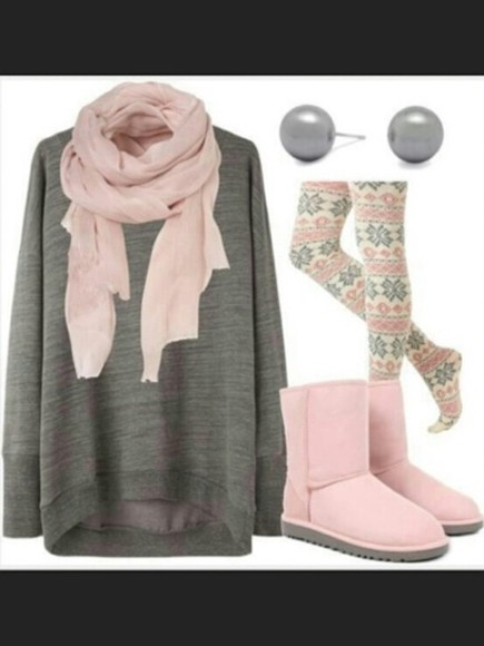 sweater pink and white shoes pants snowflake leggings nordic printed leggings scarf