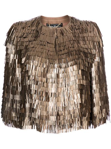 Salvatore Ferragamo jacket fringed jacket women leather silk grey metallic