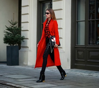 madame julietta blogger coat bag red coat flannel shirt black jeans long coat winter outfits winter coat