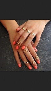 jewels,ring set,ring,gold,jewelry,High waisted shorts,orange,coral,cross,nail polish,ebonylace.storenvy,knuckle ring,gold jewelry,gold midi rings,bracelets,nail accessories,girl,nails,hands,nail art,thin gold rings,gold ring,hand,pink,rings and tings,urban,summer,hashtag