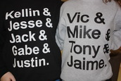sweater,band,music,pierce the veil,sleeping with sirens,sweatshirt,perfection,vic fuentes,kellin quinn,band t-shirt,names