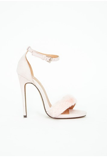 Missguided - Francesca Faux Fur Strappy Heeled Sandals Baby Pink