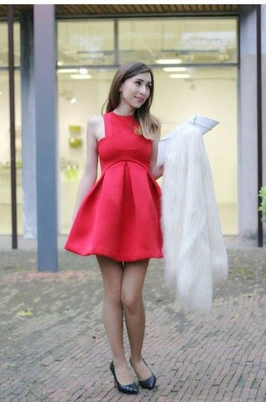 Hot Retro Girl Slim Bubble Ruffle Frill Flared Skater Dress Prom Gown Cocktail Neon Green Red
