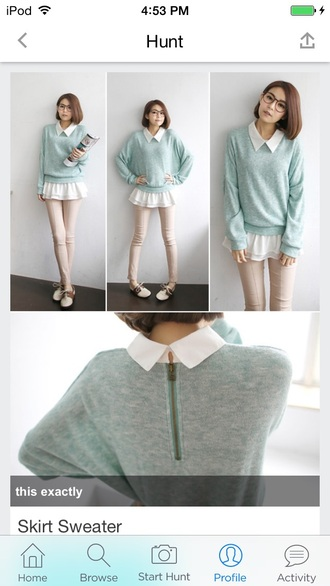 sweater collared sweater ruffle