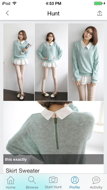 sweater collared sweater ruffle