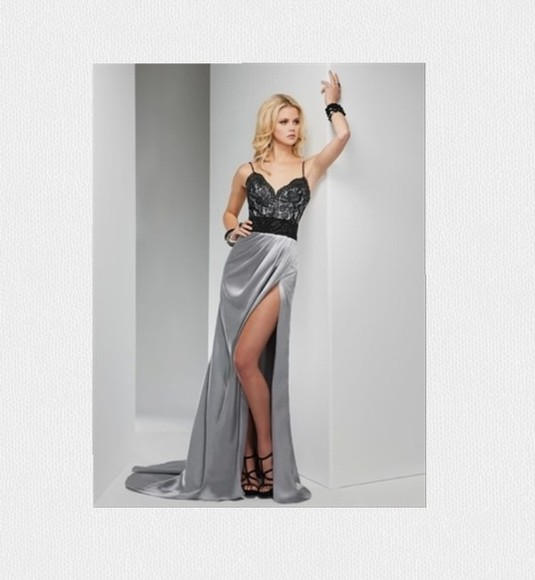silk black dress prom grey net