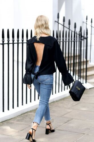 shoes block heel sandals sandals sandal heels black sandals jeans blue jeans top black top open back open back top backless top bag black bag long sleeves