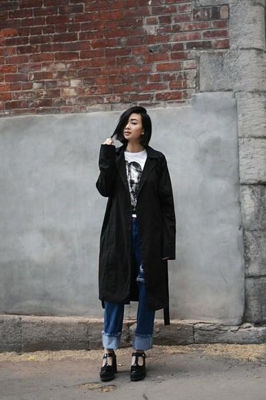 jeans t-shirt wedges blogger ordinary people coat boyfriend jeans