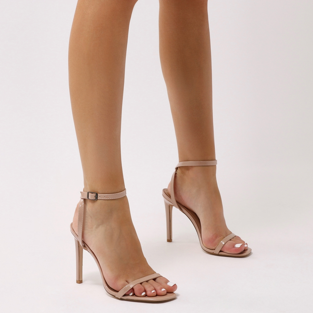 Notion Squared Toe Barely There Heels in Nude Patent