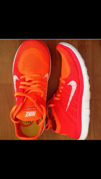shoes nike orange shoes nike running shoes nike flyknit nike free flyknit 4.0 red shoes nike