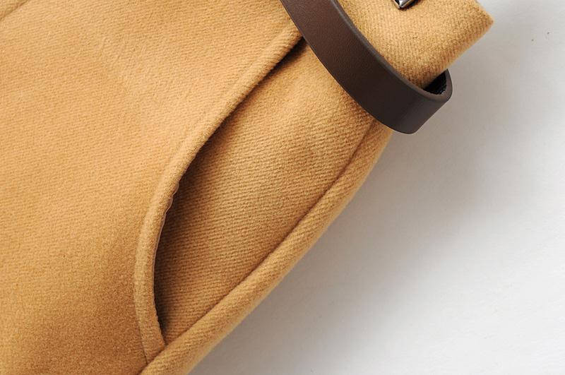 Light brown belted woolen shorts