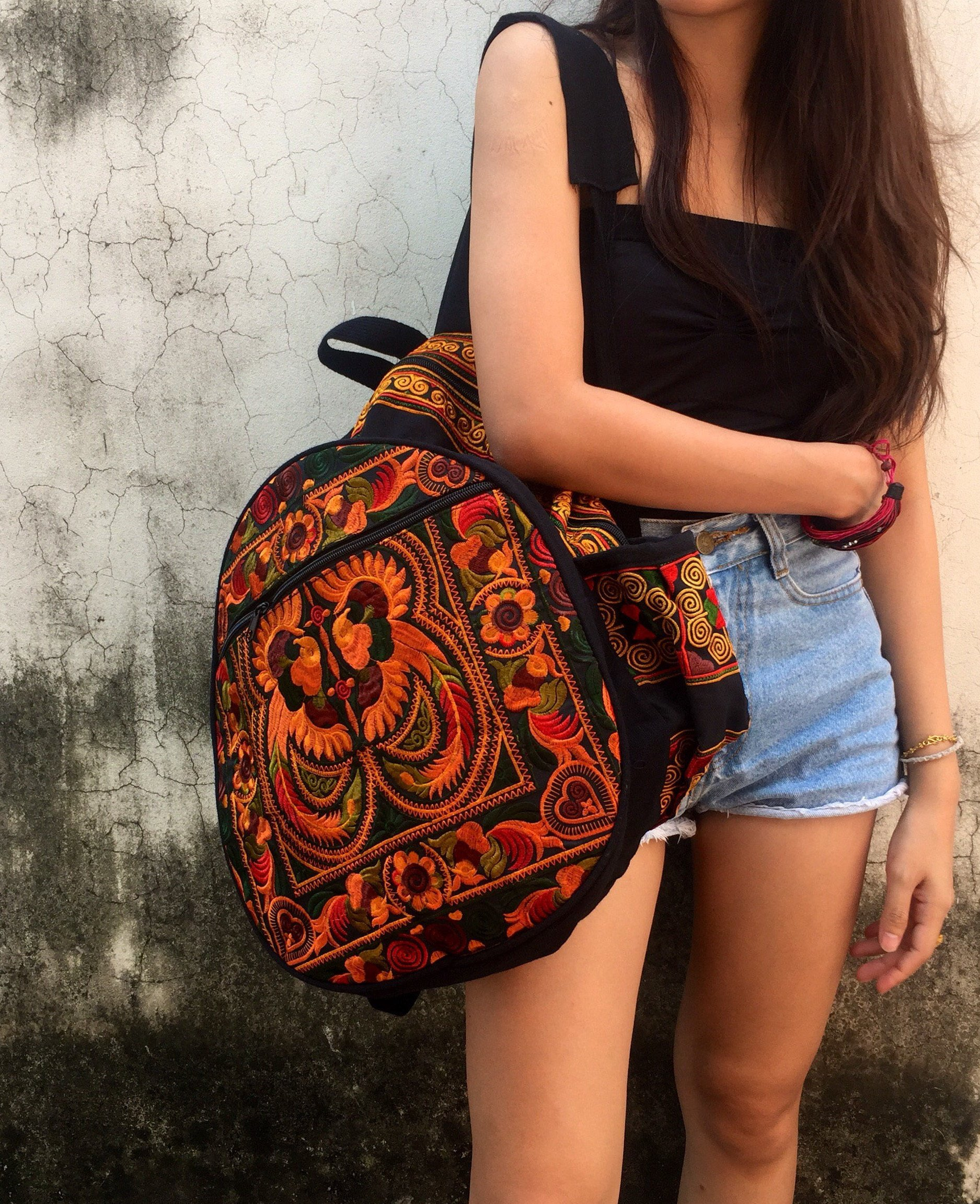 Backpack Tribal Embroidered Bohemian Hippie Retro Hmong Flower fabric Festival Travel Luggage School backpack bucket bag Women Gifts Trippy