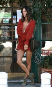shoes,ankle boots,alessandra ambrosio,romper,short,model off-duty