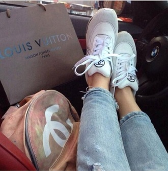 shoes chanel shoes tennis shoes grey and white