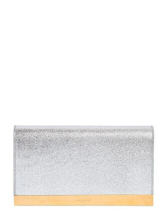 leather clutch metallic clutch leather silver bag