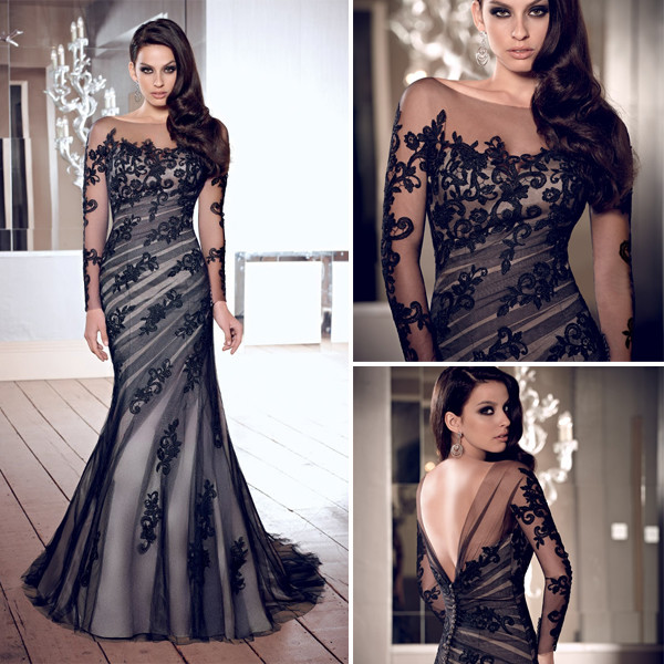 long sleeves evening dresses mermaid evening dress open back evening dress black evening dress