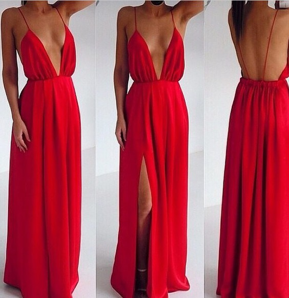 dress red red dress maxi dress slit dress