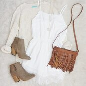 jumpsuit,white,beige,shoes,brown,sweater,bag,boots,swede boots,ankle boots,oversized sweater,fringed bag,brown suede boots,tan suede boots,fall booties,ankle booties.,chunky ankle boots,heeled ankle booties taupe s,suede boots,mid heel boots,booties,suede,taupe heels,high heels,suede booties,pointed boots