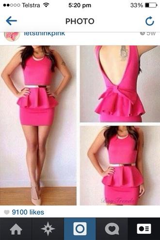 dress pink peplum tight dress bodycon belt jewels shoes