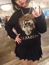 top,versace,bamboo earrings,earrings,necklace,chain,sweater,t-shirt,shirt,black,gold,skirt,pleated skirt,kawaii