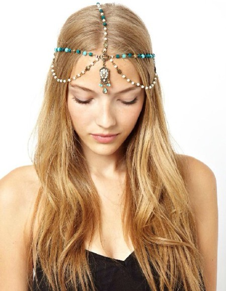 urban outfitters fashion nail accessories crystalsrhinestones boho cochella head chain blue vanessa huggins