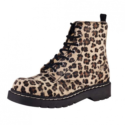 T.U.K. Leopard Print Anarchic 7 Eye Boot