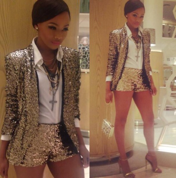 jumpsuit Sequin shorts style sequin shirt silver metallic grey coat blazer shorts fashion