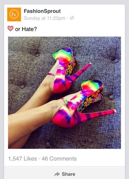 shoes heels tie dye colorful