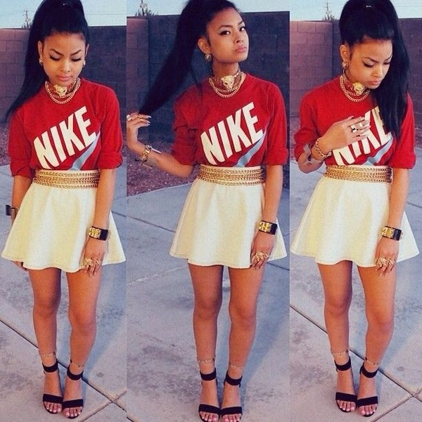 skirt skater skirt white flawless nike killem dope jewels belt shirt shoes