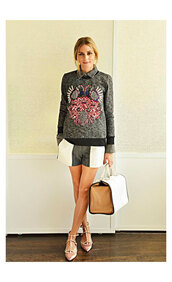 olivia palermo,sweater,shirt,bag,shorts,shoes,anya hindmarch,embroidered,grey sweater