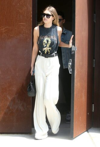shoes pants top gigi hadid wide-leg pants
